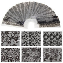 20 Sheet 20cm*4cm Black Lace Flower Transfer Foil Nail Art Sexy Design Sticker Decal For Polish Care DIY Free Shipping WY188(China)