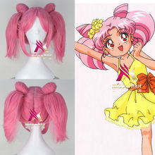 Sailor Moon Chibi Usa Short Pink Hair with Bun and Ponytail Straight Cosplay Costume Wig