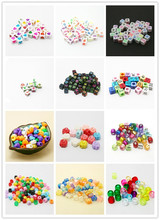Acrylic Beads Letters constellation round cube heart shape Beads Kids DIY Craft Plastic Beads for Kids Jewelry Crafts Children(China)