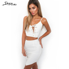 Buy Women Sexy V Neck Lace Crop Top Skirt Suit Fashion High Waist Hollow Mini Skirt 2 Piece Set Club Bodysuit Skirt for $12.35 in AliExpress store