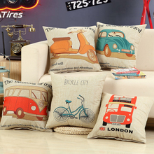2016 New Cool Cartoon Bicycle Bus Motorcycle Pattern Cotton Linen Pillow Case Home DIY Pillowcases 45cmX45cm Fresh & Simple