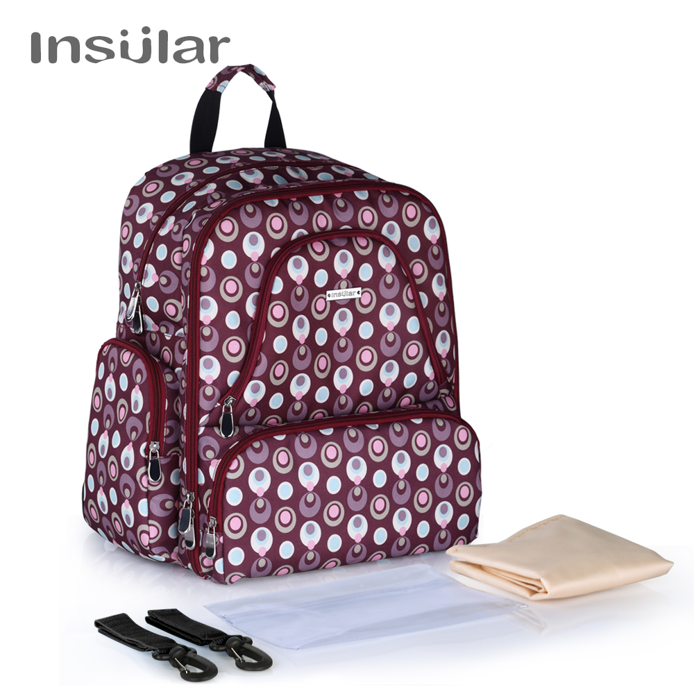 Insular Multifuntion Baby Diaper Stroller Backpack Maternity Mummy Bag Baby Waterproof Nappy Changing Bag Backpack For Baby Care<br>
