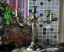 retro classic alloy bronze metal candelabra candlesticks candle holder holiday home wedding decoration 2079(China)