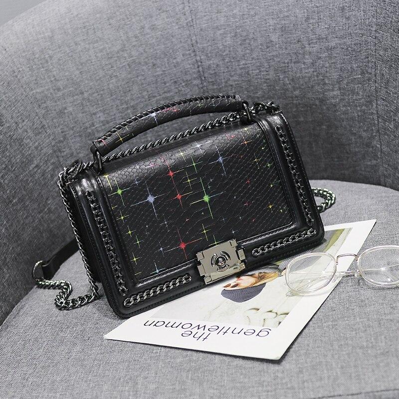 2018 Women Snakeskin PU Leather Messenger Bag Luxury Handbags Female Designer Shoulder Bag Chain Shoulder Strap Flap Bags <br>