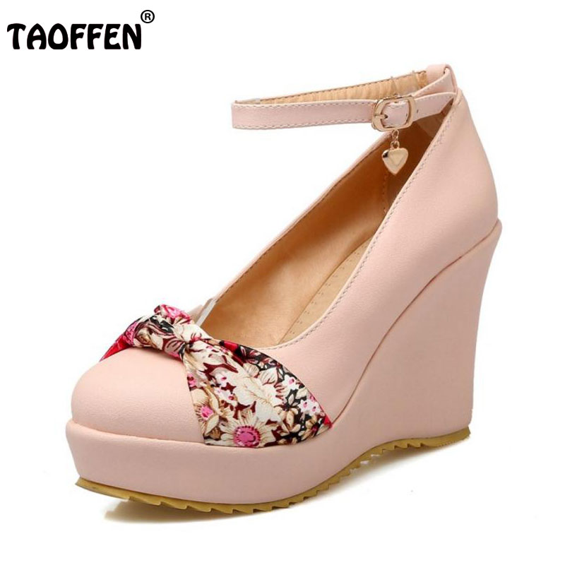 TAOFFEN Size 34-43 4 Colors Lady High Wedges Shoes Women Platform Ankle Strap Flower Trifle Pump Sexy Party Dress Women Footwear<br>
