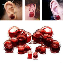 Pair Blood Red Liquid Filled Ear Plugs Flesh Tunnels Gauges Saddle Body Piercing Jewelry Ear Reamer Expander 6-25mm(China)