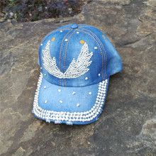 Customize women black blue color denim jeans cloth made Artificial stones bling bling Angel wings baseball caps(China)