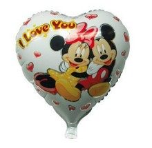 "18"" Heart Minnie Mickey Mouse Foil Balloons with I love You Letters for birthday party decoration(China)"