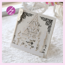 50pcs/lot 2017 21colors for happy christmas tree design wedding party invitations card unique laser cut christmas greeting card(China)
