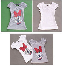 2017 NEW Kids Girls Minnie Long T-shirt Birthday Party Dress Bow Clothes 3-8Y Wholesale