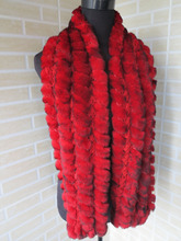 Genuine  rex rabbit fur  scarf wrap cape  collar  long size red with black tips shipping free