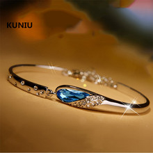 KUNIURomantic Jewelry Water Drop Vintage Silver Bracelet Crystal Bracelet Jewelry Gift For Women Ladies Female
