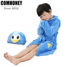 Children Bathrobe Baby Boys Animal Penguin Towel Bath Robe Girls Pajamas Dressing Gown Beach Kids Sleepwear Clothing