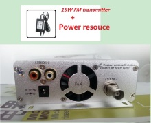 15W FM broadcast transmitter ST-15B stereo PLL fm radio broadcast station with 86MHz-108MHz-100khz dual + Power resouce