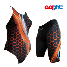 Women Digital Printed Triangle Training Competitive Swimsuit Men Sport Spandex Lycra Swim Trunks Waterproof Beach Brief Bathing