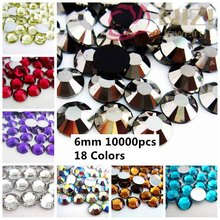 10000pcs ss30 6mm Resin Rhinestone Flatback Colors #19-#36 3D Nail Art Clothes DIY Design Decorations Beads Glue On Stick Drill(China)