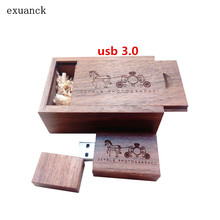 Customized Logo Engraved Walnut Wood USB 3.0 Flash Drive Memory Stick 4GB 8GB 16GB 32GB 64GB (30pcs free logo)