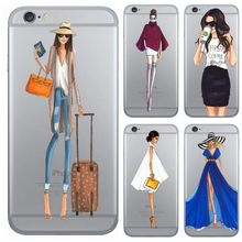 Fashion Dress Shopping drink coffee Girl Transparent plastic Case Cover For Iphone 6 6s 5 5s SE 7 7Plus Fashion Cell Phone Cases(China)