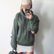 New Autumn Hip Hop Hoodies Women Sexy Hole Hoodie Loose Casual Long Sleeve Hooded Sweatshirt Women Pullovers Pocket Hoody Jacket