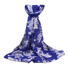 chiffon scarf Flower Printing women's scarf muslim lady brand design spring and autumn cape shawl wrap 2017#YL(China)