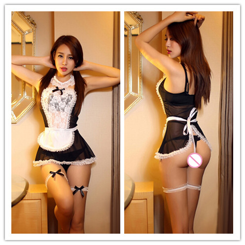 maid uniform Sheer Lace Costume Cosplay Women Sexy Lingerie Dress France style Maid Sexy Lingerie Outfit Fancy Underwear