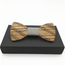 New year gift wooden bow tie Striped Jacquard Men Butterfly Self Bow Tie BowTie Pocket Square Handkerchief Hanky Suit tie(China)
