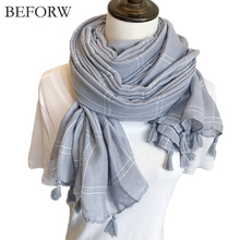 BEFORW Warm Blanket Scarf Woman Wrap Long Tassel Plaid Thick Brand Shawls and Scarves For Women Autumn Winter Cotton Linen Scarf