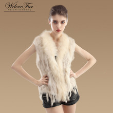2016 New Real Knit Rabbit Fur Vest With Raccoon Fur Collar Gilet Women Fashion Knitted Rabbit Fur Waistcoats