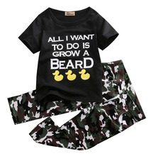 2pcs Baby Infant Boys Outfits T-shirt Tops Pants Kids camouflage Clothes quoted Letter Print Short Sleeve Boy's Set