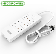 NTONPOWER Extension Lead with USB Charger 2.4A 5 Port 6 Outlets Electronics Surge Protector Power Strip Socket 1.5M Power Cord