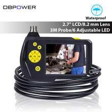 "DBPOWER 8.2mm 2.7"" LCD Endoscope Inspection Camera 3M Flexible Tube Professional Borescope 360 Rotation DVR with 6LED Zoom Up(China)"