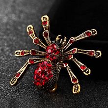 Blucome Small spider Brooch For Men Jewelry Shiny Vintage Insect Pin Broach Fashion Wedding Hijab Accessories men's hats bijoux(China)