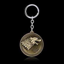 Game of Thrones Shield Round Coin Metal A Song of Ice and Fire Stark family crests Keychain Pendant Key Chain Chaveiro Key Ring