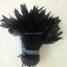 wholesale natural 100pcs/lot black Beautiful Rooster feathers 12.5-20cm/ 5-8''(China)
