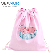 VEAMOR Girls Travel Shoulders Shoes Bags Watermelon Cat Dog Pengui Handbags Drawstring  Backpack Schoolbags Storage Bags B339