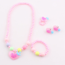 Baby Kids Heart Resin beads jewelry set Children Favorite Lovely Gift Jewelry Set accessories JJALT3