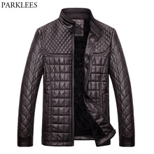 Winter Pilot Leather Jacket Men 2017 Casual Stand Collar PU Leather Mens Jackets Coats Slim Fit Quilted Jacket Chaquetas Hombre