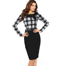 AAMIKAST Women Dresses Elegant Brand  O-neck Full Sleeve With Button Wear To Work Party Cocktail Pencil Bodycon Women Dresses