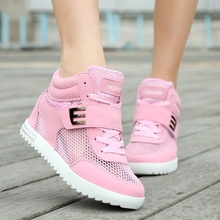 Hot Sale Summer Breathable Mesh Platform Sneakers Women for Hidden Wedge High Heel Elevator zapatillas deportivas mujer Shoes