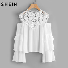 Buy SHEIN Guipure Lace Yoke Tiered Flare Sleeve Top White Layered Long Sleeve Sexy Blouse Autumn 2017 Women Blouses for $16.97 in AliExpress store