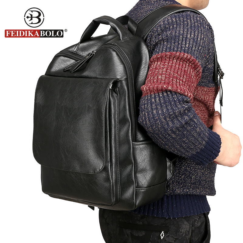FEIDIKABOLO Men Backpack Men Bagpack Male Leather Backpack Laptop Man Black Backpacks Morrales mochila masculina Cuero rugzak <br>