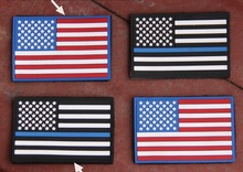Tactical Police law enforcement Thin Blue Line United States US Flag Patch Hook and Loop PVC RUBBER