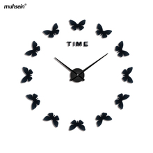 2017 muhsein New Wall Stickers Home diy wall clock Acrylic Large 3d Sticker Life Wall Clock Horse Butterfly Free Shipping(China)