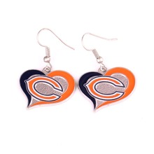 Chicago Bears Sports Team Logo Swirl Heart Shape French Hook Style enamel single-sided football Charm Dangle Earring