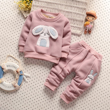 Cute Rabbit Picture New Baby Girls Clothes Winter Children Girls Clothing Child Girl Clothing Set Kids Clothes Girls Sets(China)