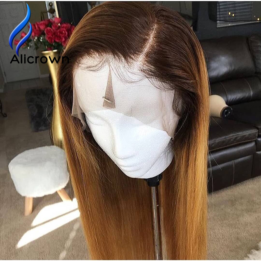 ALICROWN Ombre 1b/27 Lace Front Human Hair Wigs Brazilian Remy Hair 13*4 Lace Wigs Pre-Plucked With Baby Hair Bleached Knots(China)