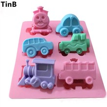 6-Car Train 3d Silicone Soap Mold New For 2016 Flexible Silicone Mould For Candy Chocolate Craft SOAP JELLO Making Cake Tools