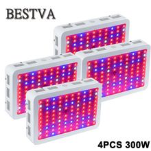4PCS USA/DE/AU/UK  Stock 3year Warranty 300W Full Spectrum With IR&UV LED grow light for Medical Flower Plants & Bloom(3W Leds)