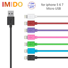 IMIDO Without Retail USB Data Cable Sync Charger cable 1.2M Adapter 8pin For iPhone 5S 6S iPad4 Touch5 iPod Nano7 Free shipping