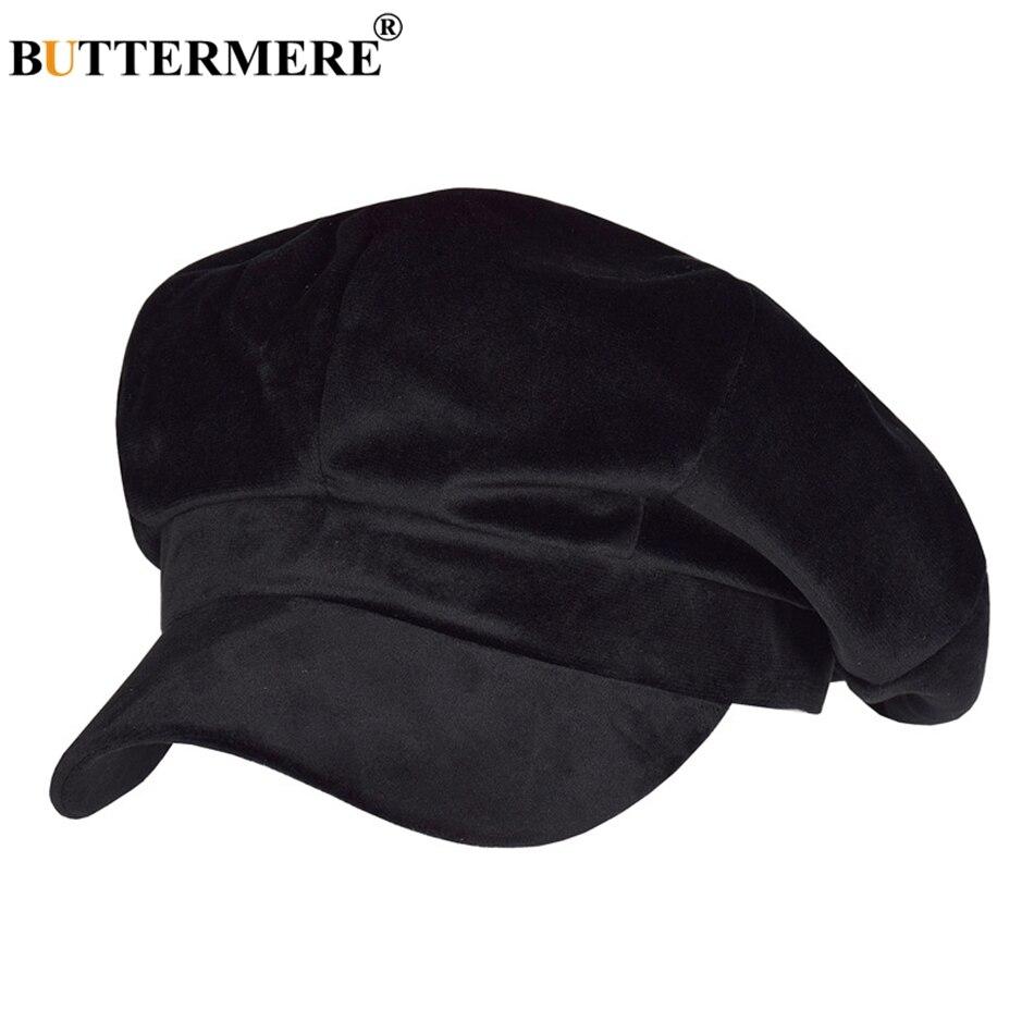 Nome Prodotto  BUTTERMERE Cappellino ottagonale in velluto berretto da donna  Cappotto nero con foglie d anatra ed edera Cappellino femminile morbido ... 9ca768a6004b